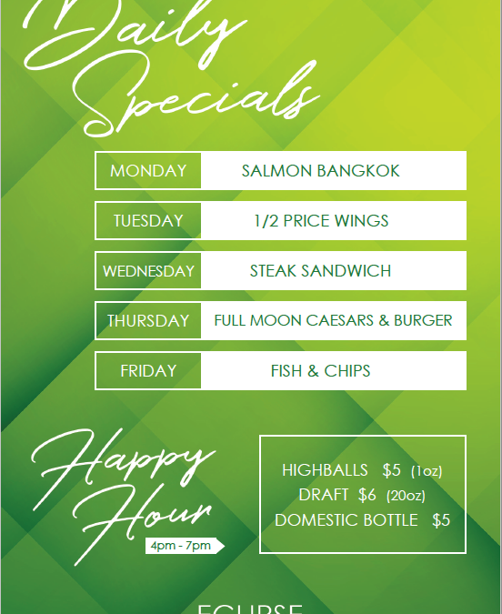 Happy Hour + Daily Specials